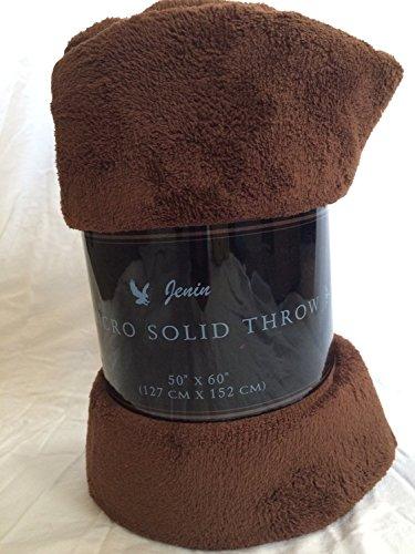 "Awad Home Fashion Solid Warm & Cozy Soft Fleece Throw Plush 50""x60"" Blanket, Chocolate"