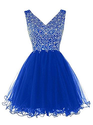 Damen Abendkleid Promkleid Tuell Steine Kurz Ausschnitt Ivydressing Beliebt V Partykleid Royalblau Cocktailkleid Hv0WHqdA