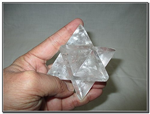 Rare New Natural Cystal Quartz Large 2'' Merkaba Gemstone Huge Big A+ Hand Carved Mineral Rock Crystal Altar God Prayer Mantra Om Altar Healing Tray Dish Devotional Focus Spiritual Chakra Ancient Cleansing Metaphysical Psychic Reiki Balancing Divine Qualit by Jet International