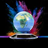 Magnetic Levitation Geographic Globe, Floating and Rotating in Midair Maglev World Map with LED Light on Planet Base for Children Education Home Office Desk Decoration Magnet Toys Balls