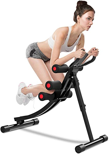 Amazon Com Onetwofit Core Abdominal Trainers Abdominal Workout Machine Height Adjustable Home Ab Trainer With Lcd Display Ot129 Sports Outdoors