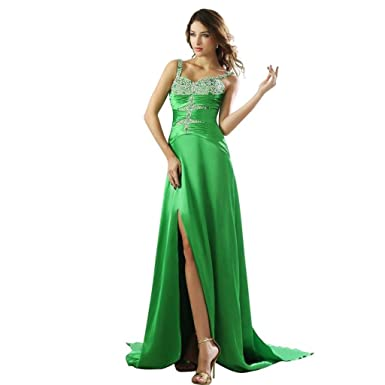 Dearta Womens Sheath/Column V-Neck Watteau Train Prom Dresses US 2 Green