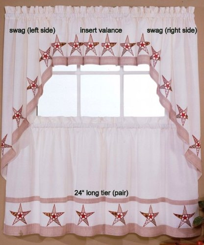 Country Stars - Ecru/Red - 24'' tier (pr) Kitchen Curtain