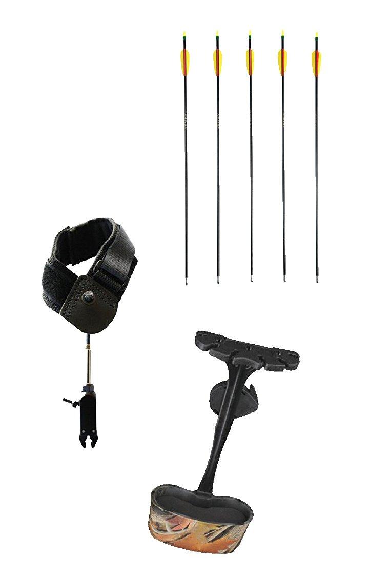 SET: Bogen-Sport-Set II 5 Stück hochwertige G8DS® Bogensport Pfeile 26 + Handgelenk Sehnenspannhilfe für Bögen bis max. 95 lbs + G8DS® Pfeilhalter Camouflage Köcher für Armbrüste Pistolenarmbrust Bogensport 8154