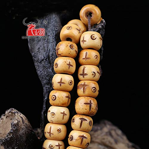 (Pukido 10PCS Natural Yak Bone Carving of The Buddha Pearl Vintage Tibetan Prayer Beads. - (Item Diameter: 9 x7mm))