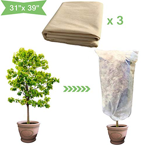 Bullkeys Plant Cover Bags Frost Blanket – 1.1oz 3 Pack Fabric 31″x 39″ Shrub Jacket, Rectangle Plant Cover Warm Cloth Frost Protection in Winter (31″x 39″)