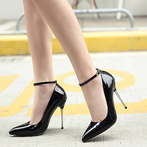 Black Shoes Pointed Buckle Ankle Elegant Easemax Heel Pumps High Strap Toe Womens Burnished Stiletto x1Z7Aq