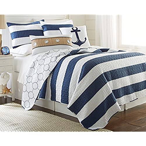 elise james home hallie rope quilt set bedding king navywhite - Nautical Bedding