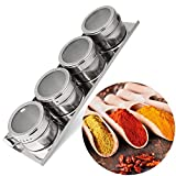 Labu Store 4PCS Stainless Steel Magnetic Spice Storage Jar Tins Container with Rack Holder