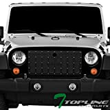 jeep wrangler radiator guard - Topline Autopart Glossy Black RVT Rivet Bolt Mesh Front Hood Bumper Grill Grille Steel With ABS Shell For 07-18 Jeep Wrangler JK