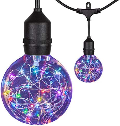 45 LEDimagine Color Changing Fairy Light Globe Patio String Lights, 15 Multicolor 1.1-Watt G95 Bulbs on Commercial Black Wire, Suspended Sockets Party Lights Outdoor
