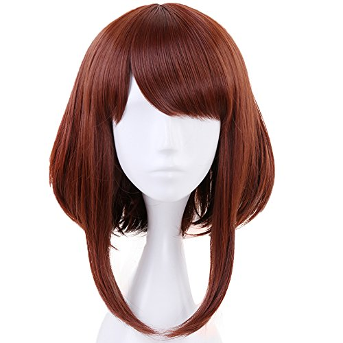 Anogol Hair Cap+Brown Wigs Bob Synthetic Hair Cosplay Wig Short Wavy For Anime Makeup -