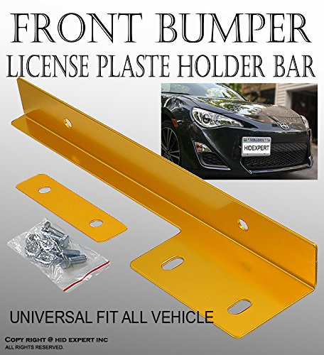 ICBEAMER Aluminum Bumper Front License Plate Mount Relocate Universal Bracket Fit All Vehicle [Color: Gold] Pack of 1