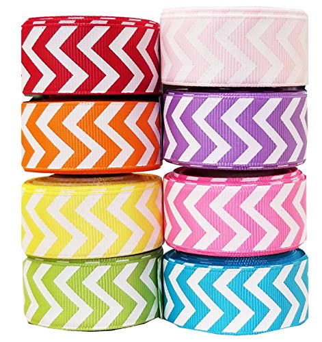 Chevon Ribbon for Crafts - Hipgirl 40 Yards 7/8 Grosgrain Ribbon Set For Gift Package Wrapping, Hair Bow Clips & Accessories Making, Wedding Decor, Boy Girl Baby Shower-(8x5yd) 7/8 Chevron Ribbon)