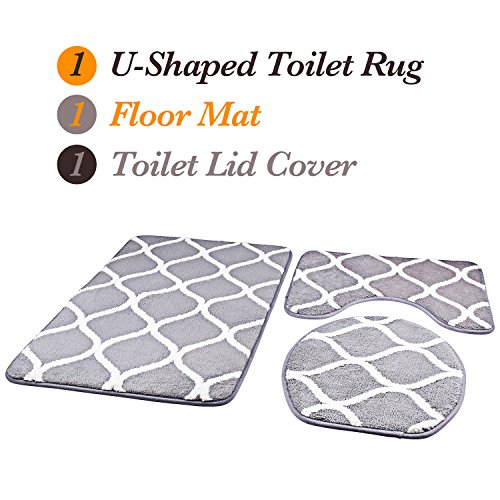 Over the Floor 3-Piece Bathroom Mat Set, Extra Soft Memory Foam Combo - Rug, Contour Mat and Lid Cover (Grey)