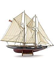 "Seaside Deco Wooden Bluenose Model Ship 26"" H 31"" L (Burgundy), Handmade with Natural Wood"