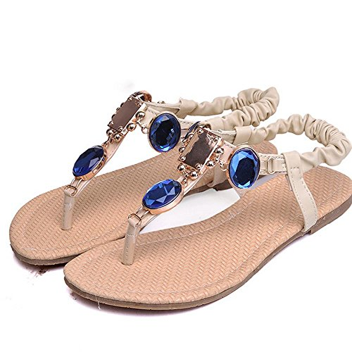 Thongs Women's Beige Rhinestone Colorful LongFengMa Flip Flops Sandals Fashion Bohemian with xadBBvqX