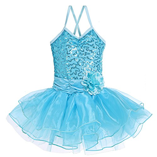 [BAOHULU Girls Kids Sleeveless Shiny Princess Tutu Gallus Ballet Dress Blue 5-6Y] (Cute Costumes For Dance)
