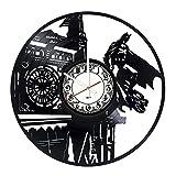 Batman Party Vinyl Record Wall Clock - Get unique bedroom or garage wall decor - Gift ideas for teens, brother, men, boys – Action Figures Vintage Unique Art Design