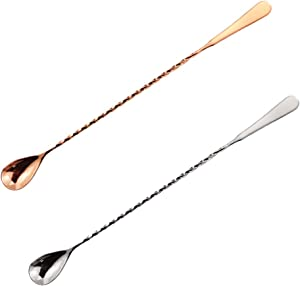 Oruuum 2 Pack12 Inch Stainless Steel Threaded Rod Cocktail Stir Spoon, Bar Cocktail Mix Spoon, Silver And Rose Gold Long Handle Stirring Spoon