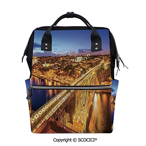 SCOCICI 3D Printed Laptop Daypack,Porto Dom Luis Bridge at Night River Portuguese Coast Mediterranean View Decorative,Vivid Custom Graphic Design (Best Nappies To Use At Night)