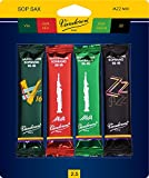 Vandoren SRMIXS25 Soprano Sax Jazz Reed Mix Card includes 1 each ZZ, V16, JAVA and JAVA Red Strength 2.5