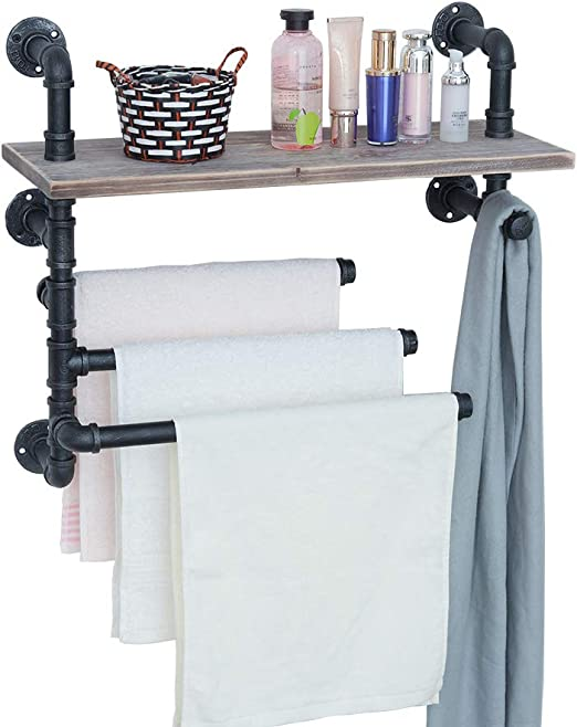 Amazon Com Gwh Industrial Towel Rack With 3 Towel Bar 24in Rustic Bathroom Shelves Wall Mounted Farmhouse Pipe Shelving Wood Shelf Metal Floating Shelves Towel Holder Iron Distressed Shelf Over Toilet Home Kitchen