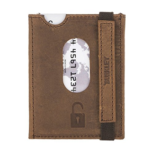 Burkley Genuine Premium Luxury Handmade Leather RFID Card Holder, Mens Slim Front Pocket Minimalist RFID Blocking Leather Wallet Card Holder (ANTIQUE)