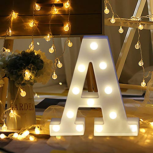 MSOO Remote Control Alphabet Letter Lights LED Light Up White Plastic Letters Standing -