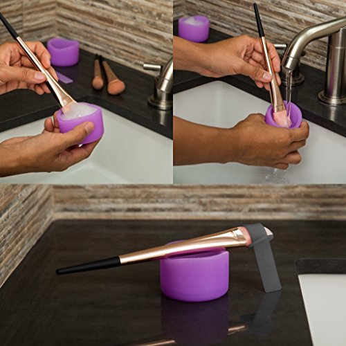 Perfect Makeup Brush Cleaning And Drying Kit – Use As A Makeup Brush Washer And Makeup Brush Dryer In A Few Simple Steps – Includes 2 Silicone Cups, 3 Drying Shaping... by Skylab