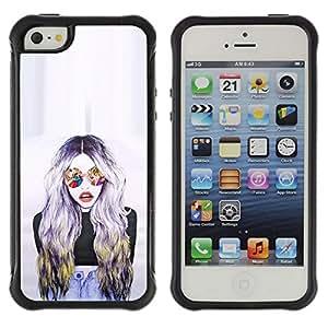 Suave TPU GEL Carcasa Funda Silicona Blando Estuche Caso de protección (para) Apple Iphone 5 / 5S / CECELL Phone case / / Sunglasses Woman Design Art /