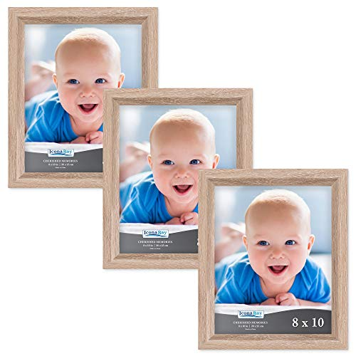 Icona Bay 8x10 Picture Frame (3 Pack, Weathered Oak Wood Finish), Photo Frame 8 x 10, Composite Wood Frame for Walls or Tables, Set of 3 Cherished Memories Collection]()