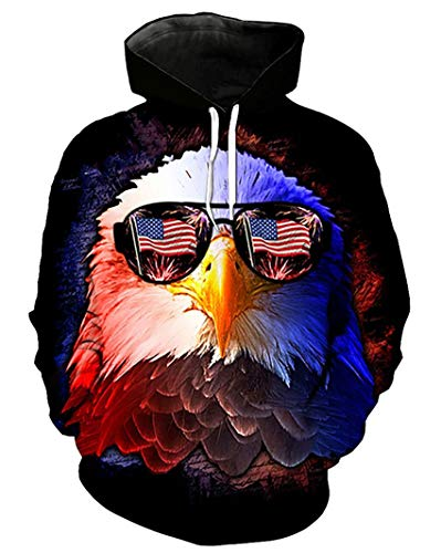 Takra Gold Unisex Eagle Print American Elements Hoodie Long Sleeve Pullover