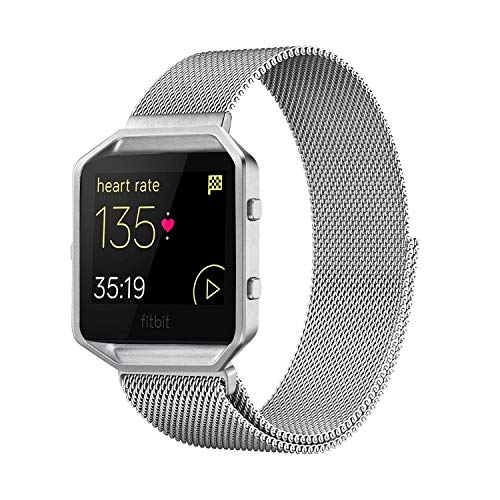 Andyou Fitbit Blaze Band with Frame, Stainless Steel Replacement Adjustable Band with Metal Frame for Fitbit Blaze Women Men,Silver Small