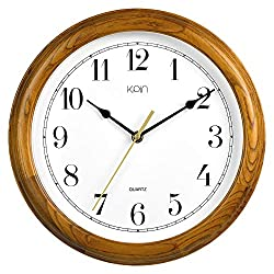 Kpin 12 inch Silent Quartz Decorative Real Wood Wall Clock Modern Style Good for Living Room & Home& Office (Cherry Wood, 12 Inch)