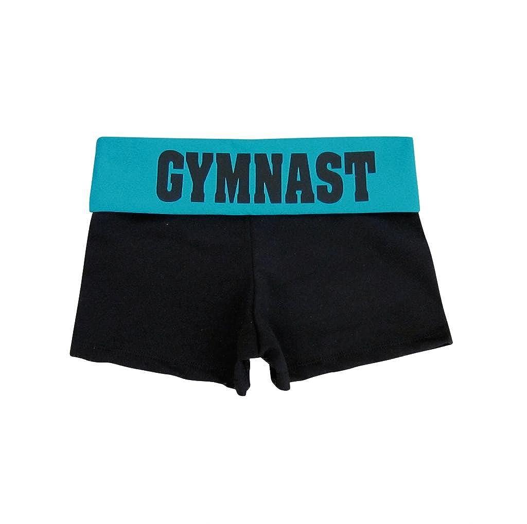 Black/TurquoiseGymnast Foldover Yoga Shorts