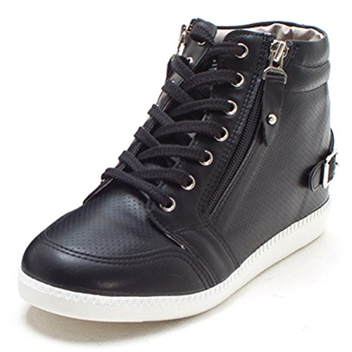 EpicStep Womens Casual High Tops Zip Lace Up Hidden Wedges Shoes Fashion Sneakers Black