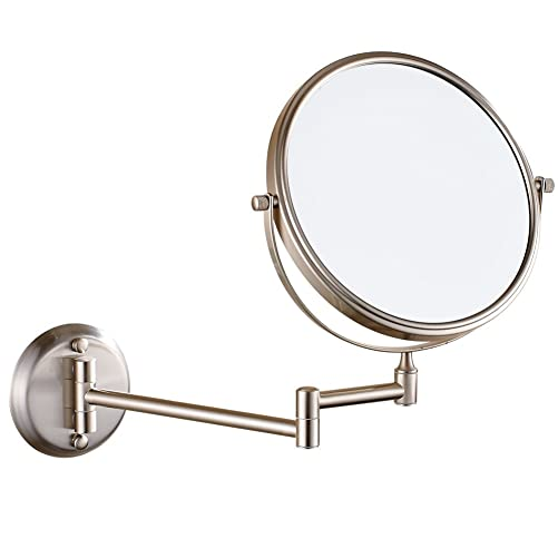 GURUN Two-Sided Makeup Mirror Wall Mounted Magnifying Mirror 5X Magnification 304 Stainess Steel BrassM1306 5X Magnification, Brushed Nickel