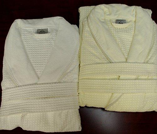 - LUXURIOUS 100% Egyptian Cotton Jacquard Velour Shawl Collar Waffle Weave Unisex Bath Robe, White