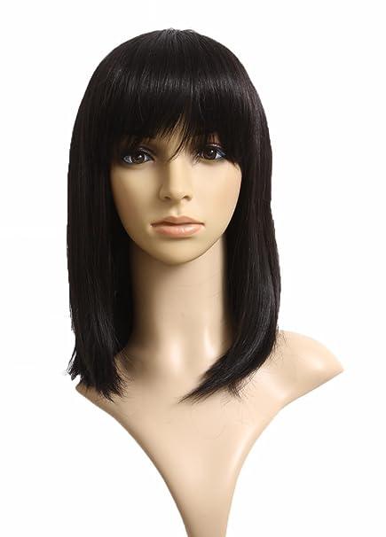 Prettyland C275 - 45cm glatt schwarz Volumen natürlich wie Echthaar Perücke Wig