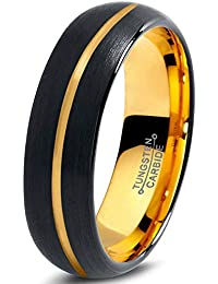 Tungsten Wedding Band Ring 6mm for Men Women Black & 18K Yellow Gold Center Line Dome Brushed Polished Lifetime Guarantee