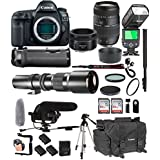 Canon EOS 5D Mark IV 50mm f/1.8 STM Prime + Tamron 70-300mm f/4-5.6 Di LD + 500mm Telephoto + 128GB Memory + Pro Battery Bundle + Power Grip + TTL Speed Light + Pro Filters,(25pc Bundle)