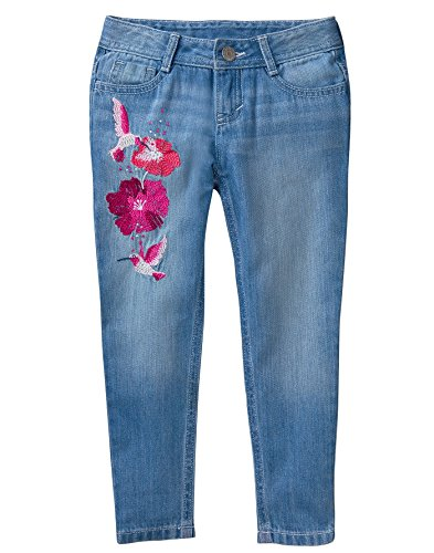 Cotton Embroidered Jeans (Gymboree Little Girls' Embroidered Jeans, Light Denim, 8)