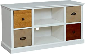 "Amazon Brand – Ravenna Home Classic Solid Wood Media Center, 47""W - White"