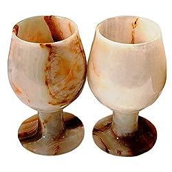 RADICALn Marble Wine Glasses 5 x 3 inches - Set of 2 Glasses (White Onyx)