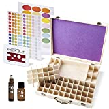 Wooden Essential Oil Box With Handle, Holds 72 Bottles & Roll-on Bottles. Perfect Extra Large Organizer Case For Travel And Display. Includes Padding, Bottle Opener And EO Label
