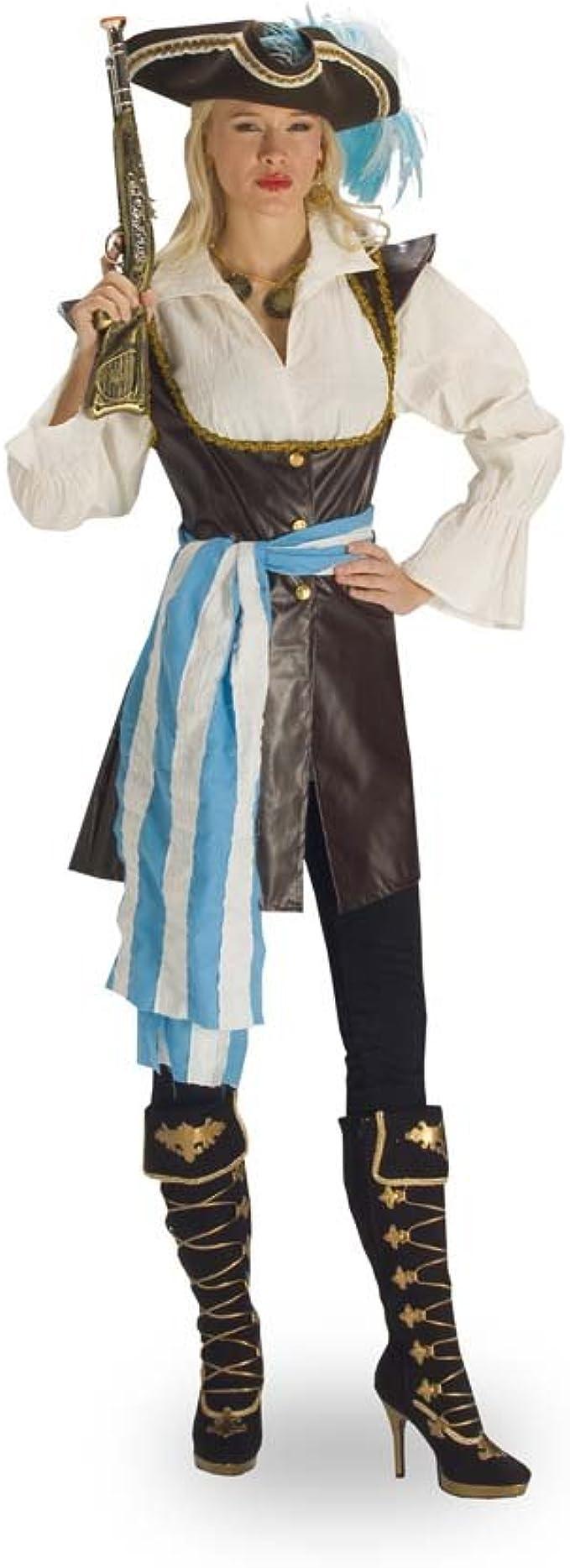 Elbenwald Disfraz de Pirata para Mujer - Chaqueta con Blusa y Banda, Traje Sexy de Reina de los Mares para Combinar con Mallas y Botas - 36/38: Amazon.es: Ropa y accesorios