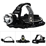 AGM® 1600LM CREE XM-L T6 LED Headlight Waterproof IP65 Headlamp Head Torch with 18650 Rechargeable Batteries + UK Charger