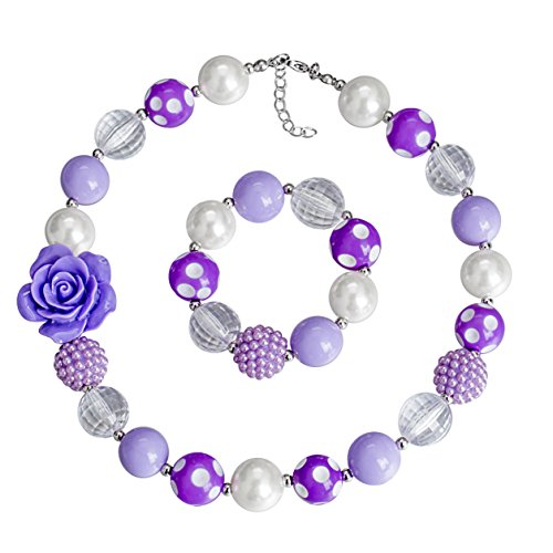 Vinjewelry Purple Kid Chunky Necklace Bubblegum Bead Baby Girl Chunky Necklace Jewelry Set