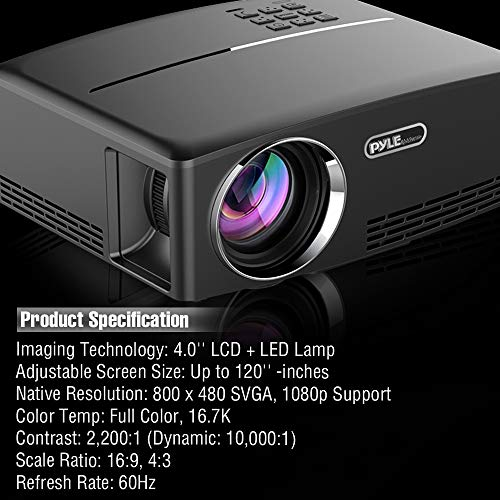 Digital Multimedia Home Theater Projector - HD 1080p Portable Digital Data System Projection w/LED, USB, HDMI Entertainment Video Photo Game Full Cinema Movie in Your Laptop - Pyle by Pyle (Image #6)